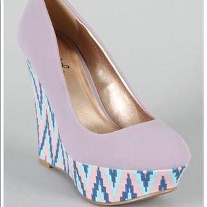 Qupid light purple wedge Aztec western heel 6.5
